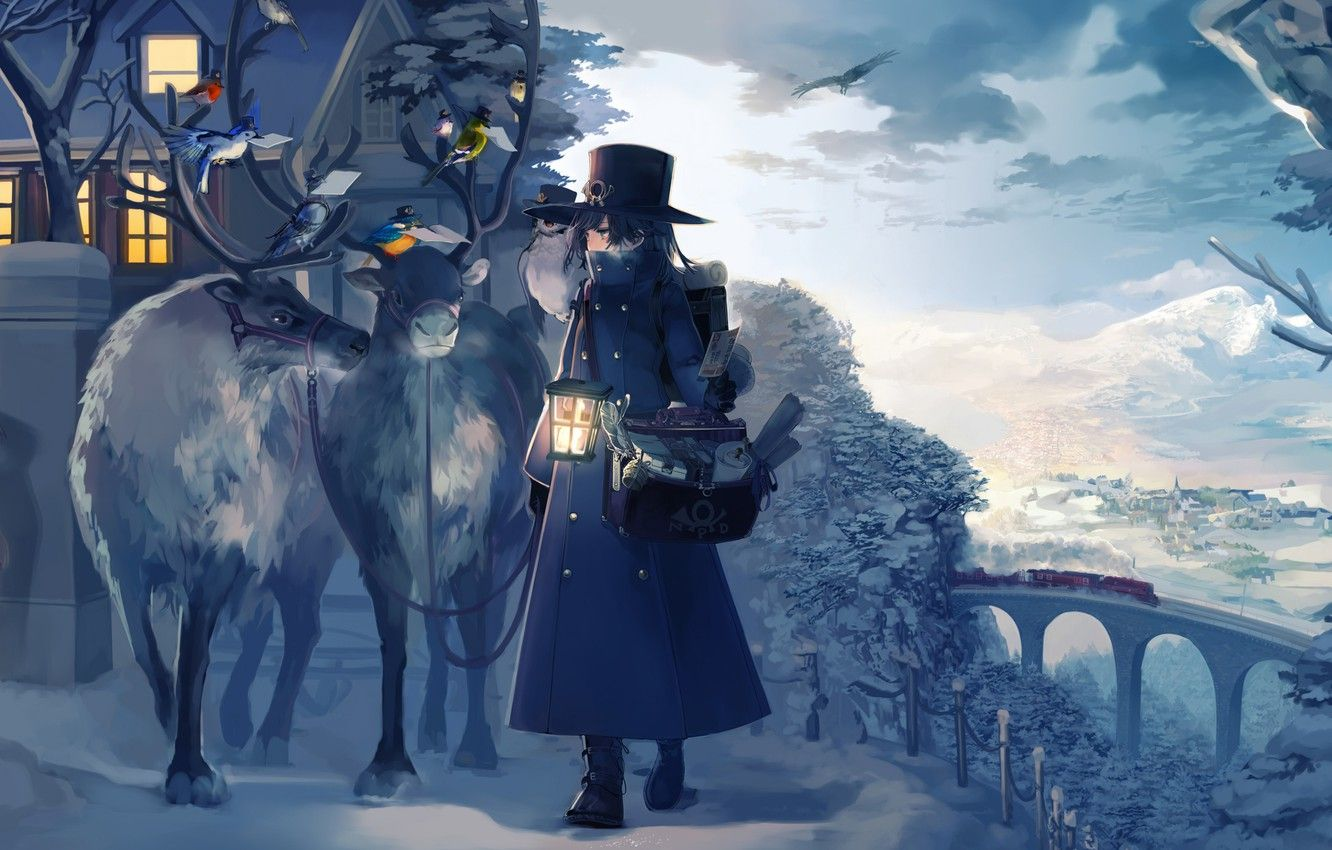 1332x850 Wallpaper house, Winter, animals, landscape, anime, snow, birds ...