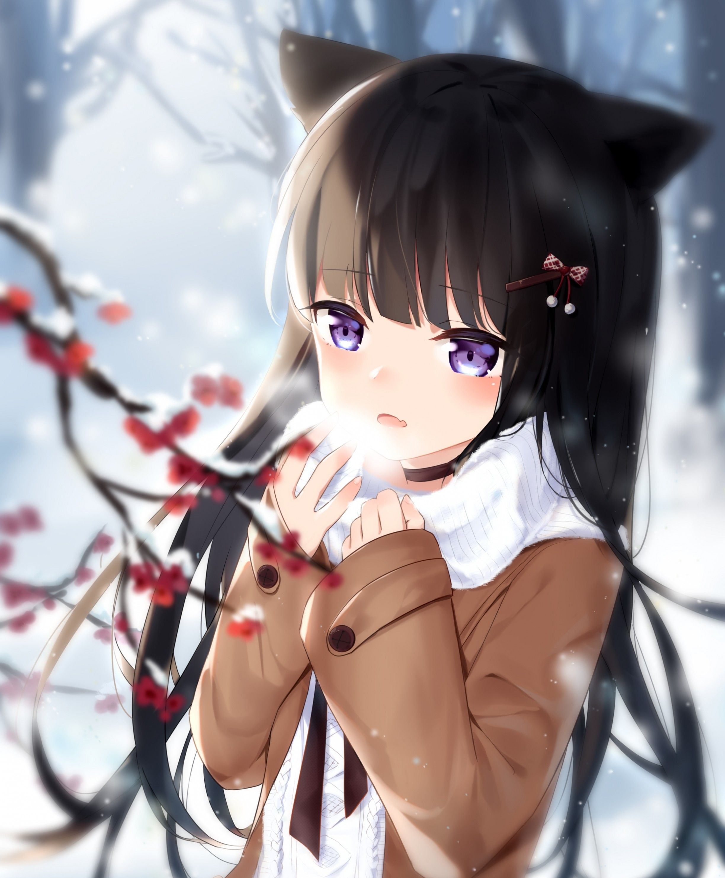 2448x2964 Download 2448x2964 Winter, Animal Ears, Cold, Anime Girl, Brown Hair ...