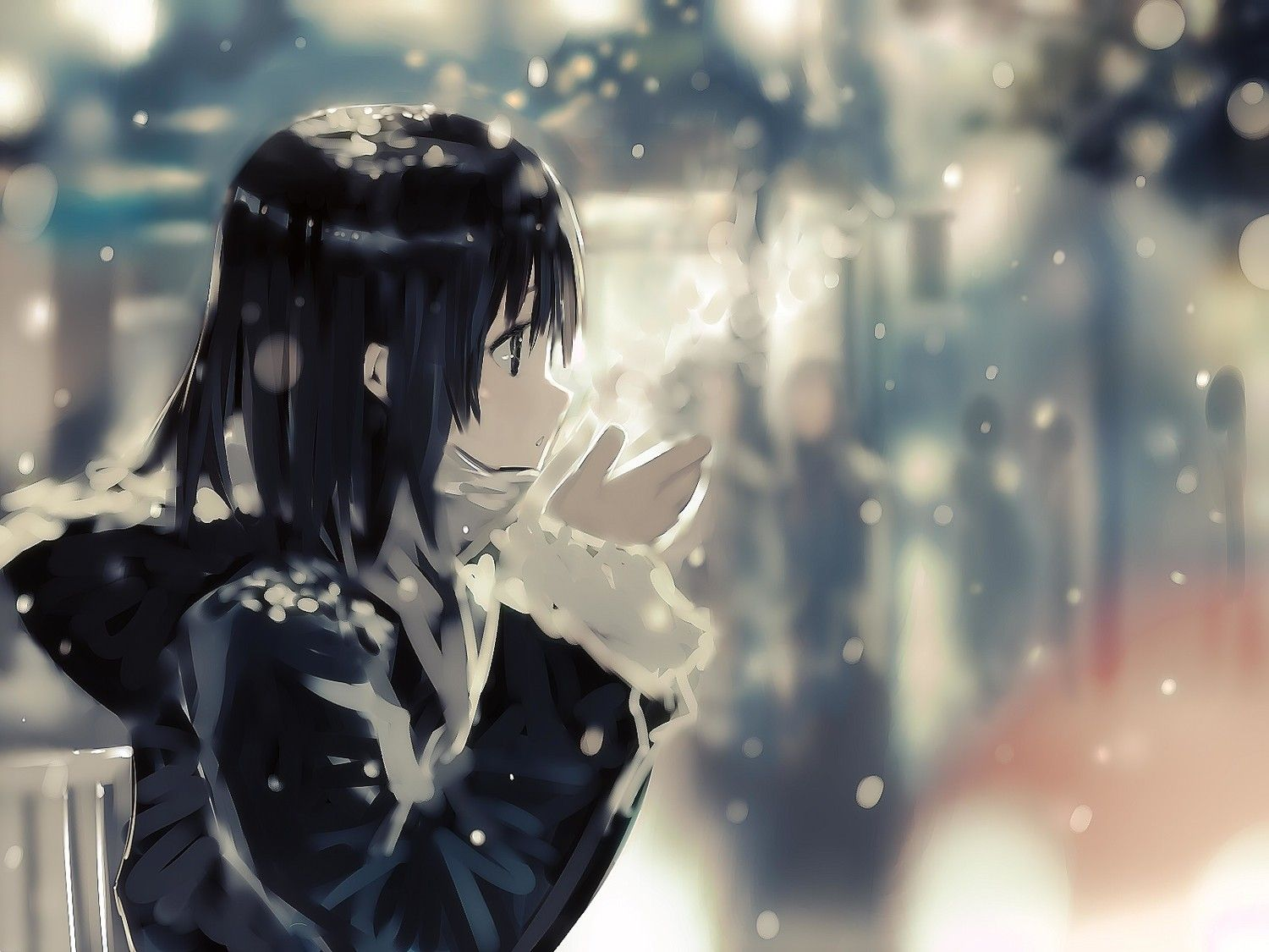 1500x1125 winter, #anime, #anime girls, #short hair, #cold, wallpaper