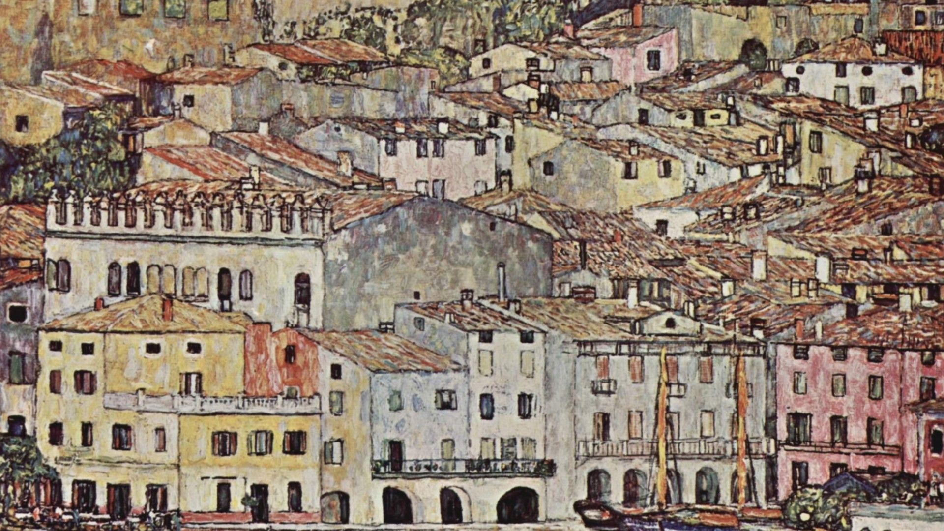 1920x1080 Painting of Gustav Klimt - City wallpapers and images ...