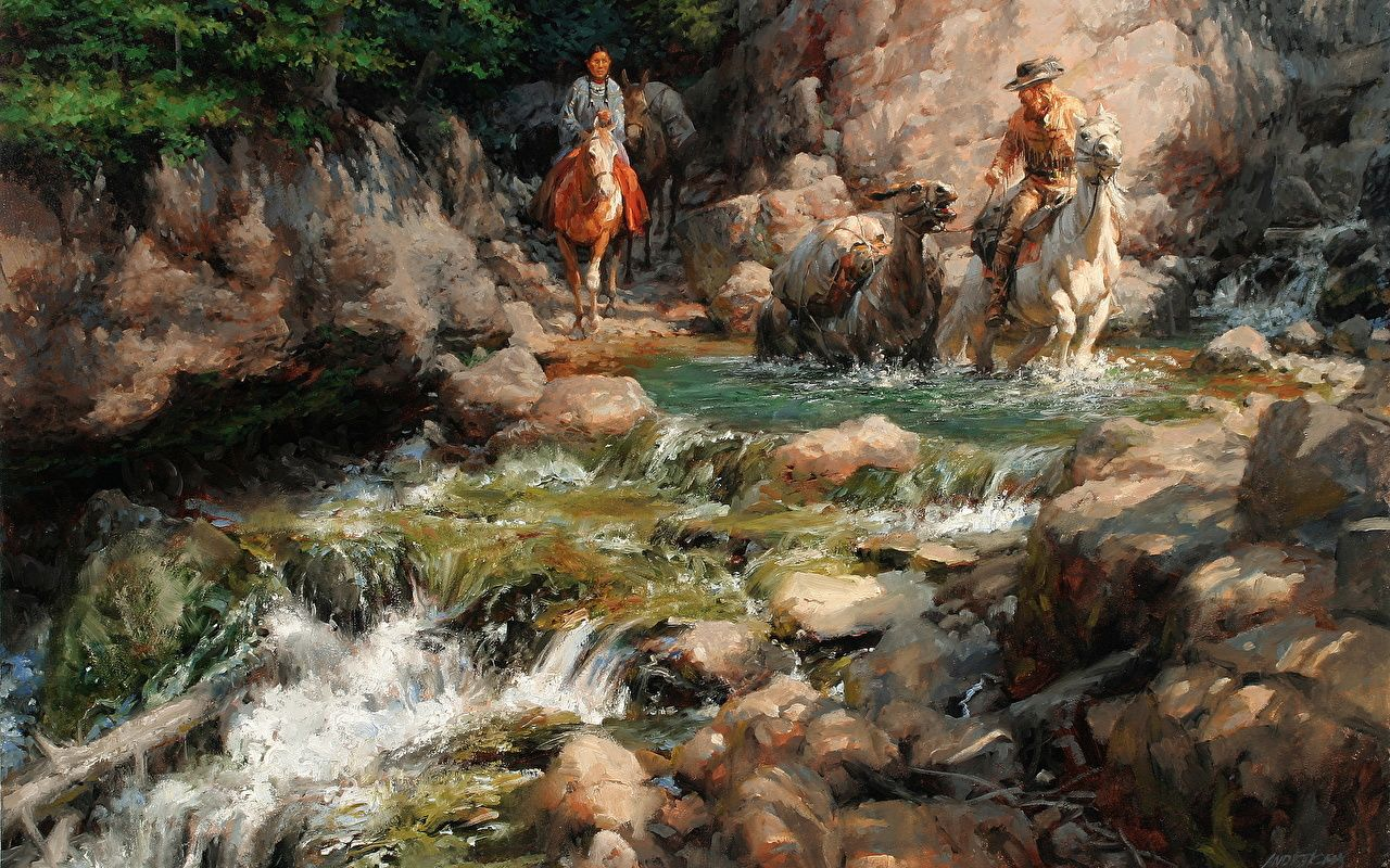 1280x800 Picture Horses Indigenous peoples Andy Thomas, Mountain Man 1280x800
