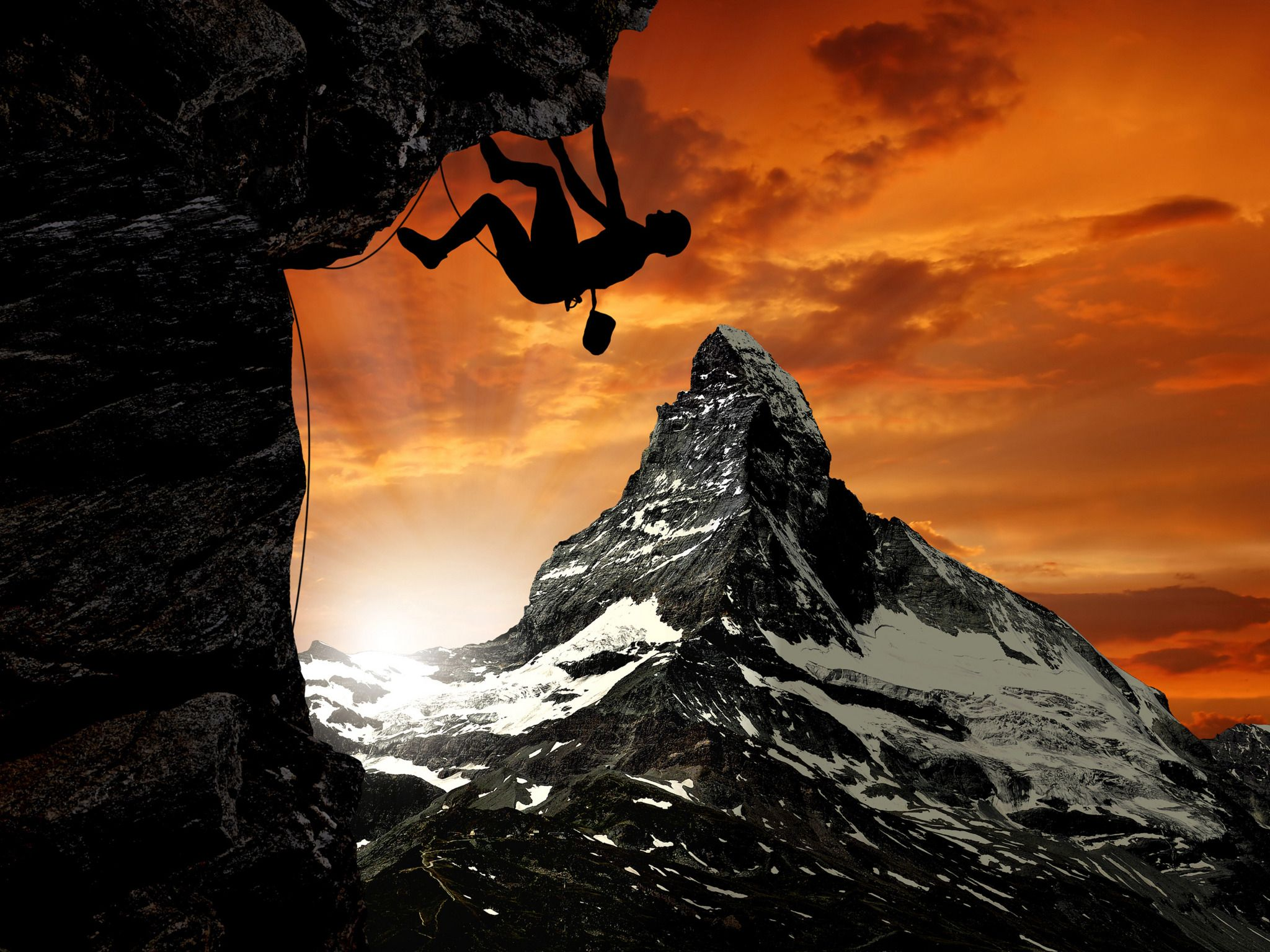 2048x1536 Man Climbing Mountain widescreen wallpaper | Wide-Wallpapers.NET