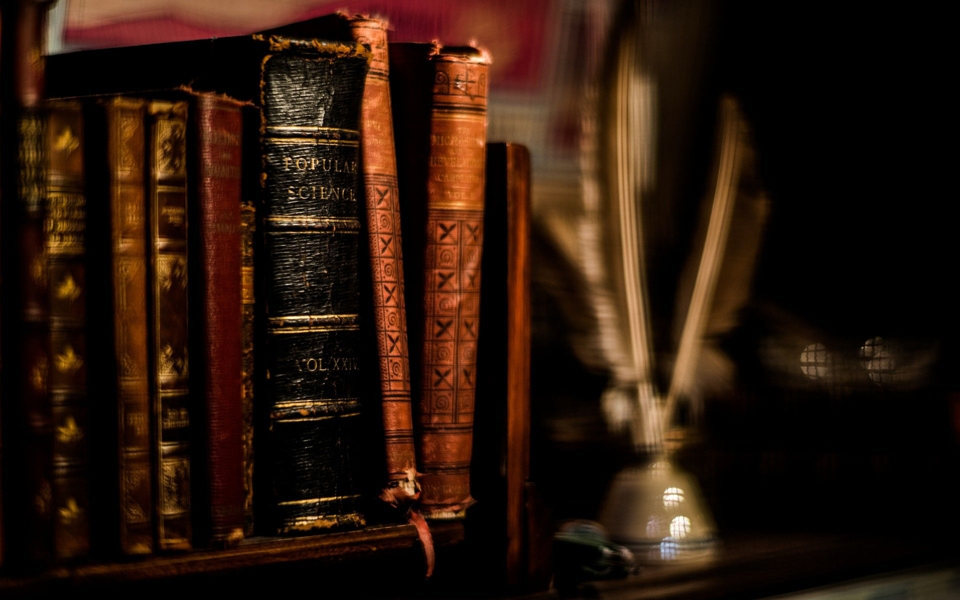 1920x1200 Feathers books ancient blurred background shelves wallpaper ...