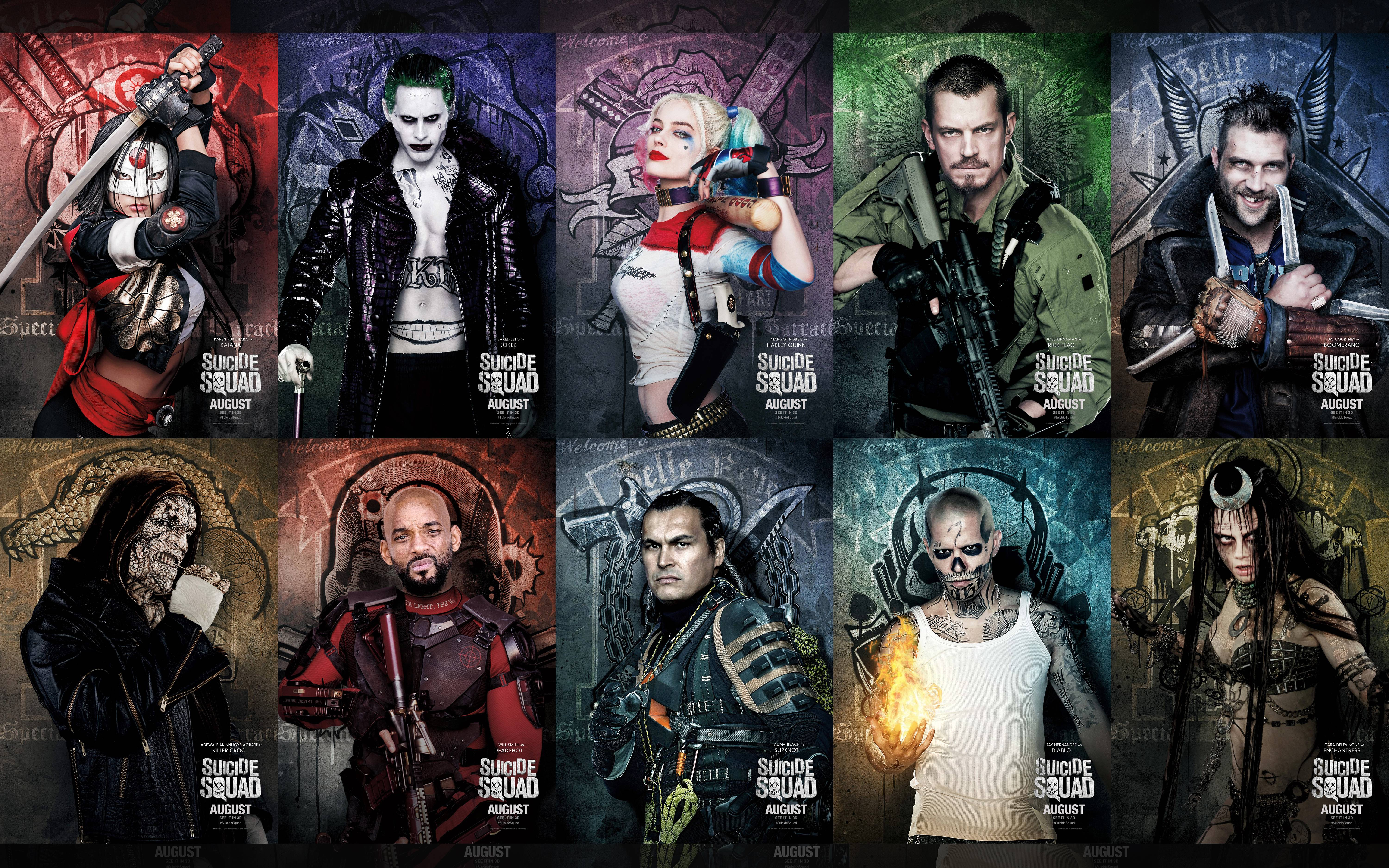 6000x3750 Pictures Suicide Squad 2016 Will Smith Joker hero Harley 6000x3750
