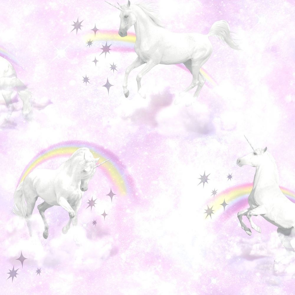 1000x1000 I Love Wallpaper Unicorn Childrens Wallpaper Pink Purple - Wallpaper ...