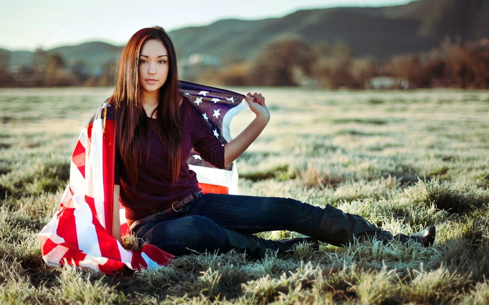 1680x1050 Beautiful Girl US Flag Wallpaper #6817602
