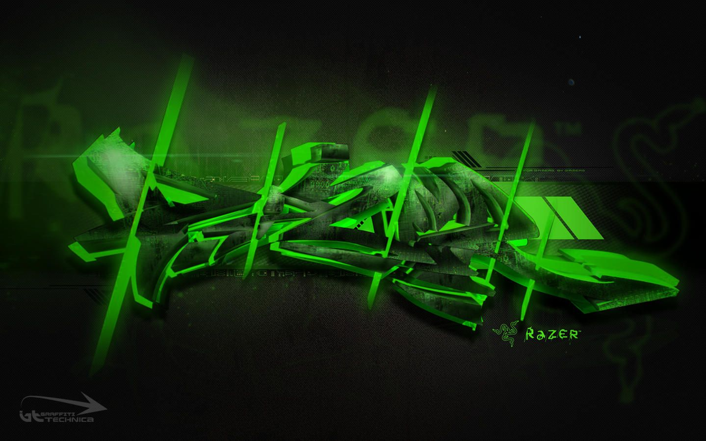 1439x899 Graffiti Style Wallpaper - illustrating various hardware logos ...