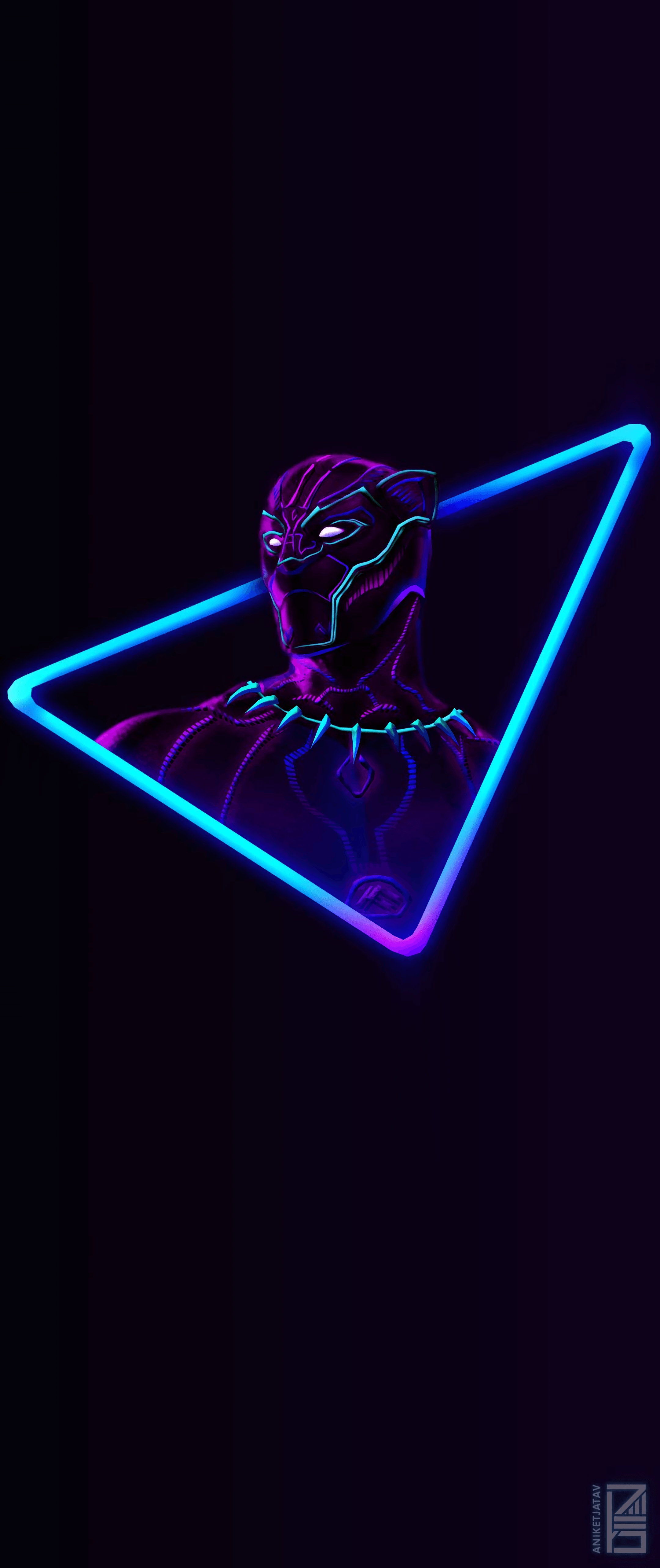 2160x5130 I Upscaled the Neon Black Panther artwork for phone ...