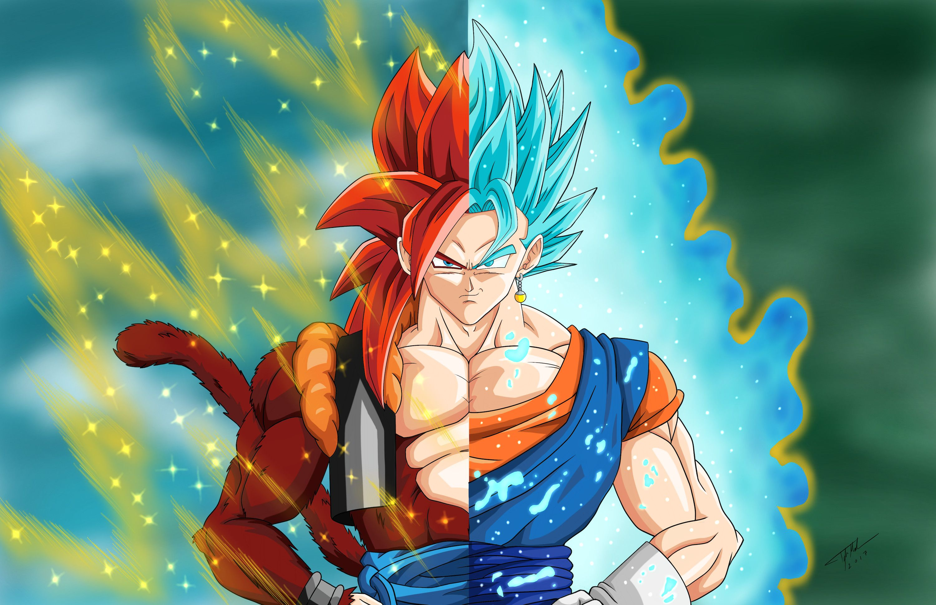 3000x1941 74+ Gogeta Ss4 Wallpapers on WallpaperPlay