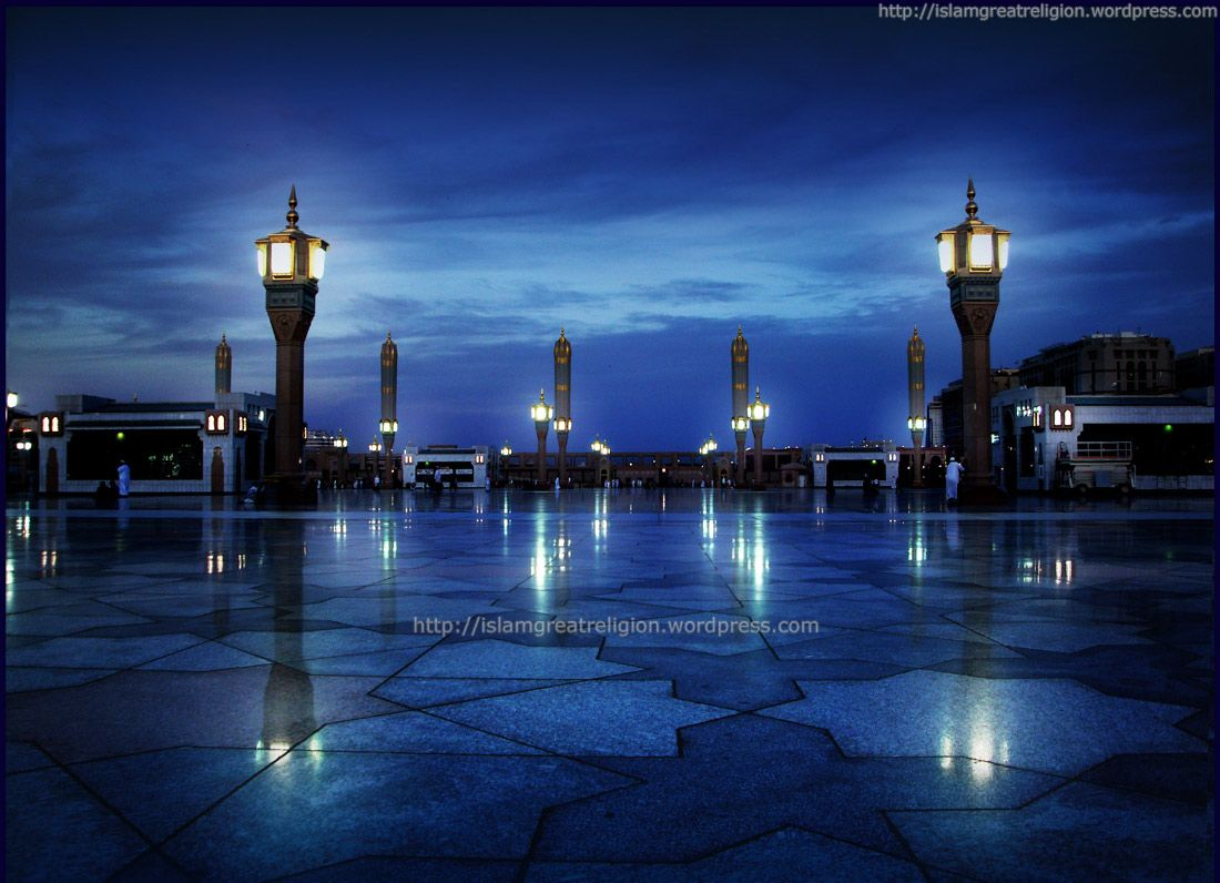 1100x796 Beautiful Blue View of Masjid Nabawi | Top Beautiful Islamic Wallpapers