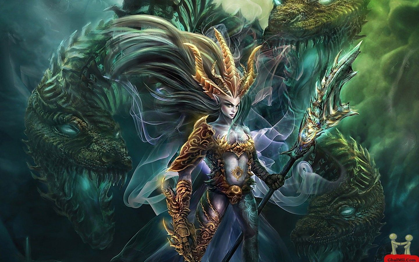 1440x900 Pictures Dragons With Women   3D Strange Girl With Dragon Wallpaper ...