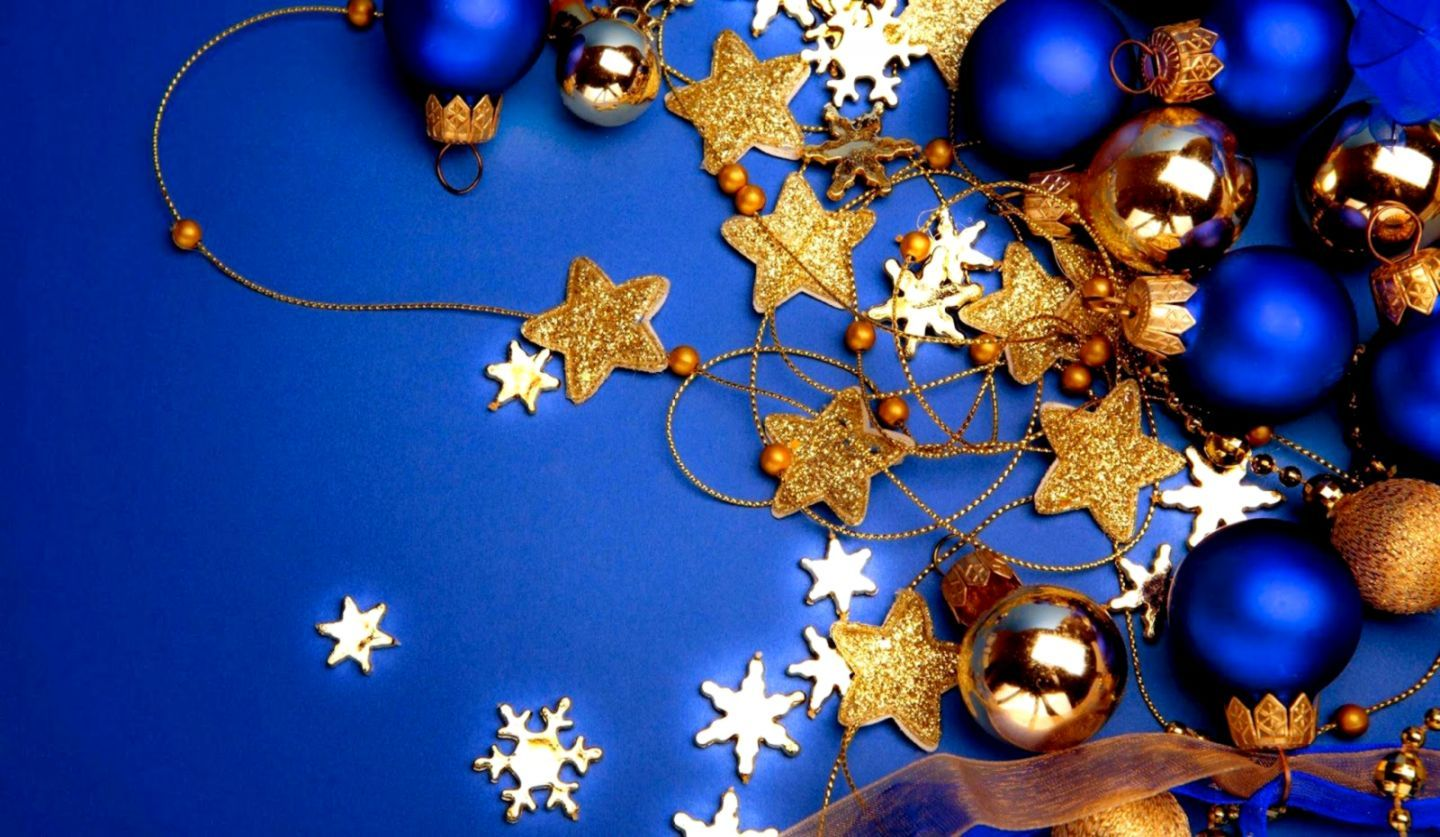 1440x837 Holidays Wallpaper Blue Christmas Decoration Hd Desktop Wallpaper ...