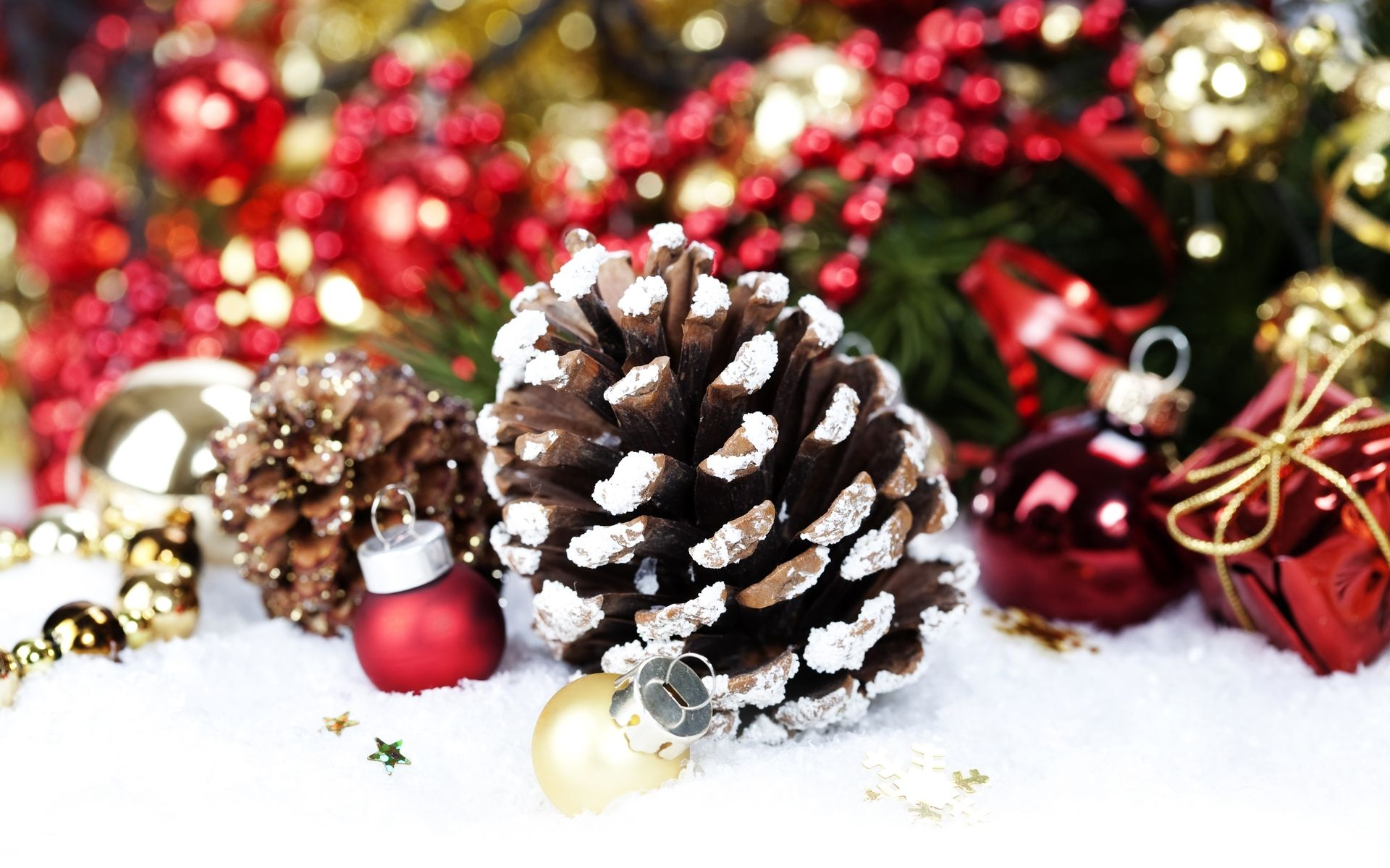 1920x1200 Christmas decoration with Pine Cone by Copyright: Natalia Klenova ...