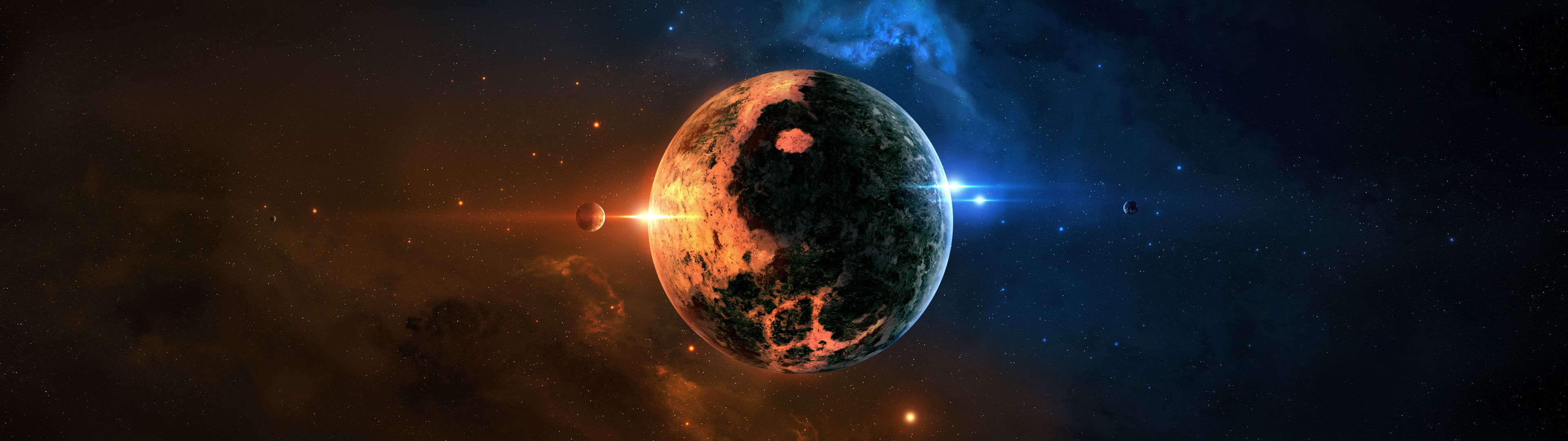 3840x1080 Planet In Outer Space Dual Screen Wallpaper | 3840x1080 | ID:48207 ...