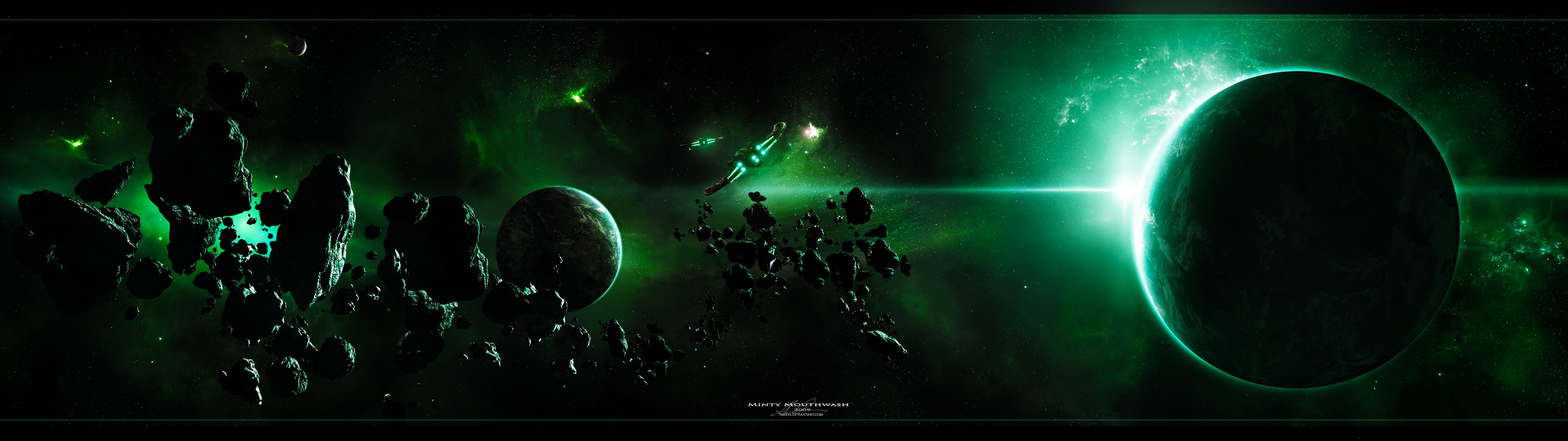 3840x1080 outer space, planets, dual screen :: Wallpapers
