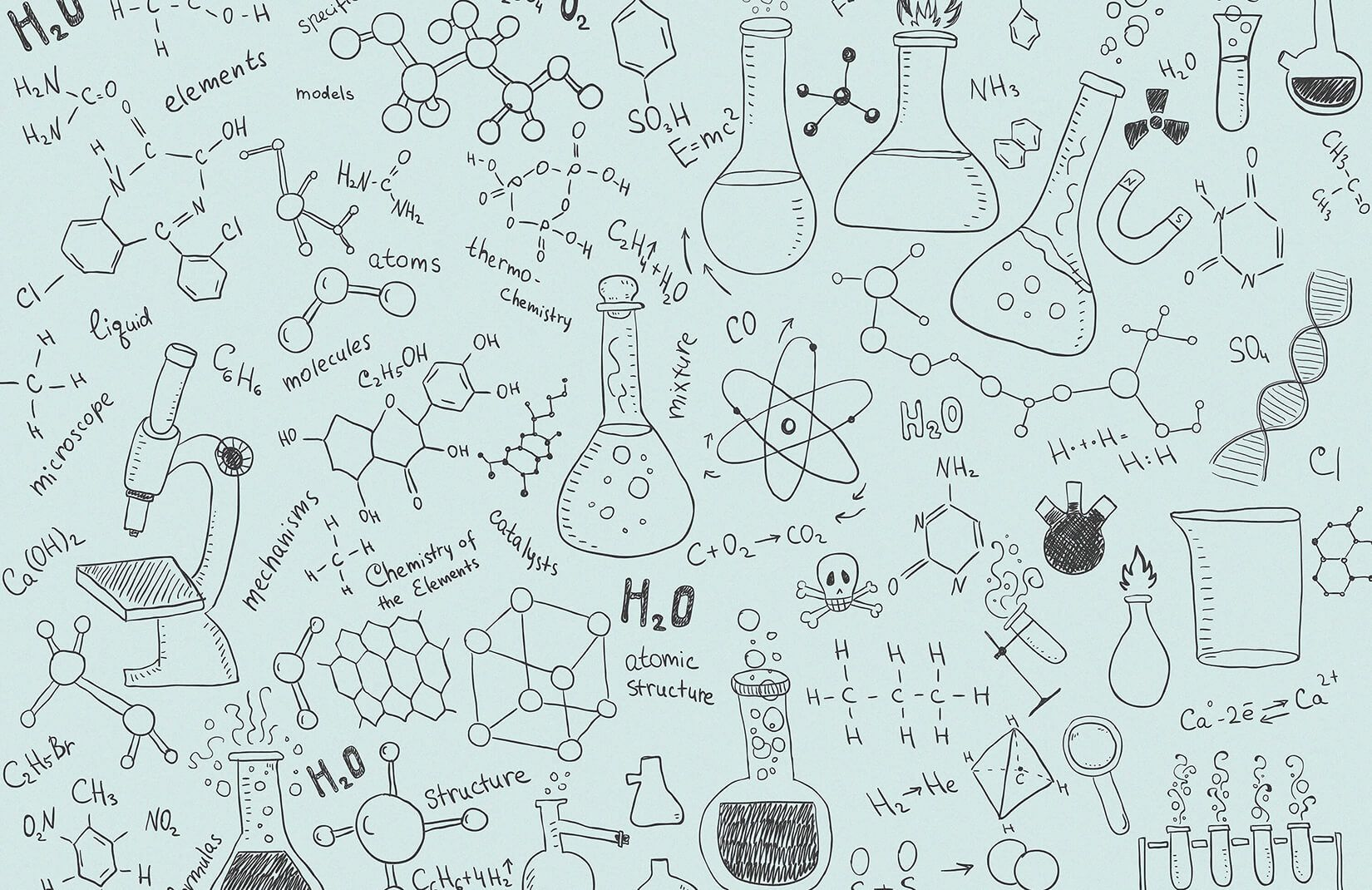1650x1070 Chemistry Wallpaper | Cute Doodle Design | MuralsWallpaper