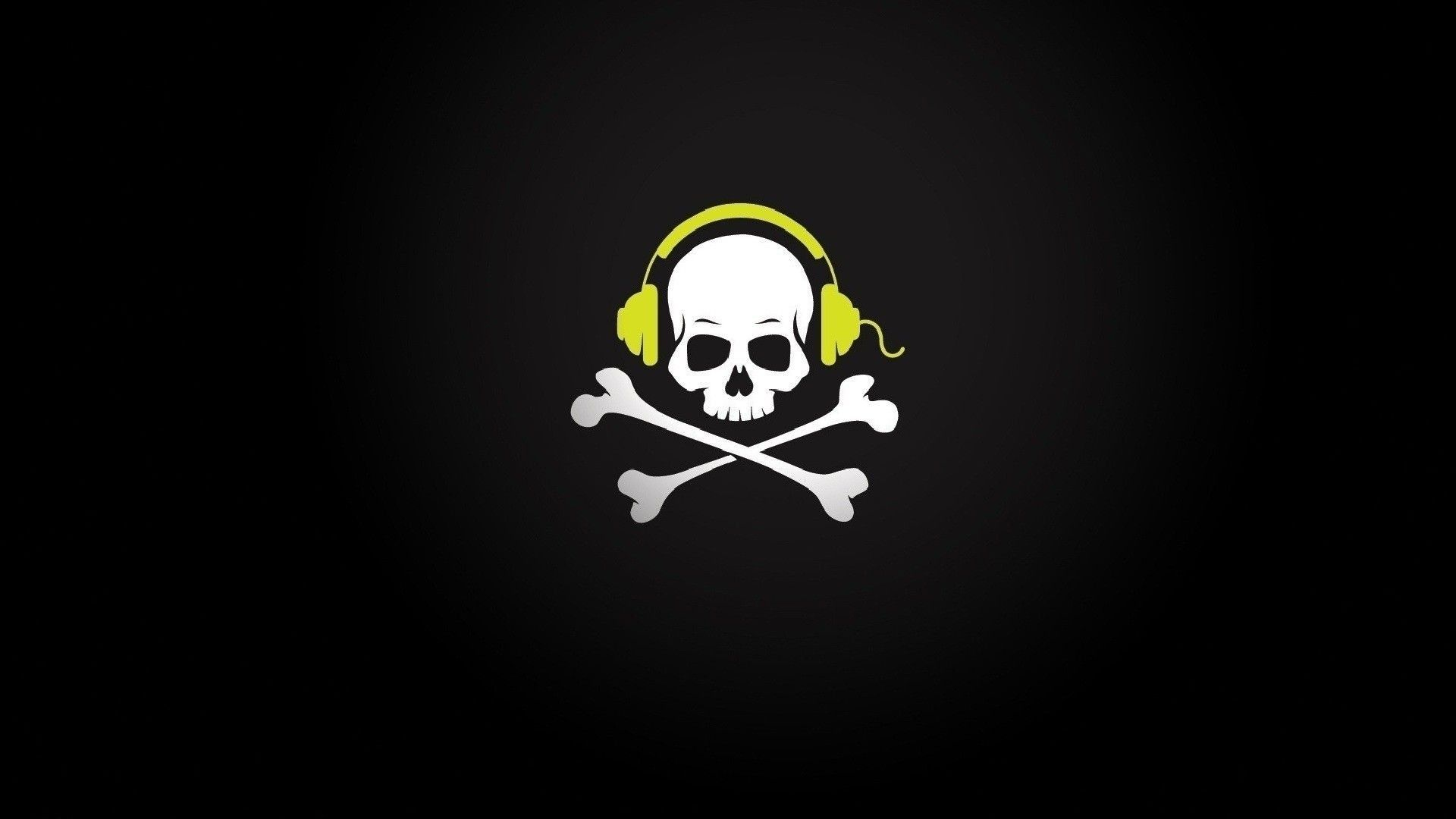 1920x1080 Pirate Skull in yellow headphones wallpapers and images - wallpapers ...