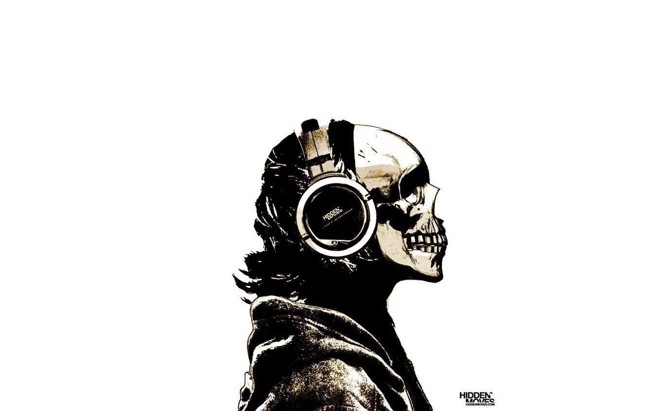 1378x846 skull headphones drawing wallpaper and background