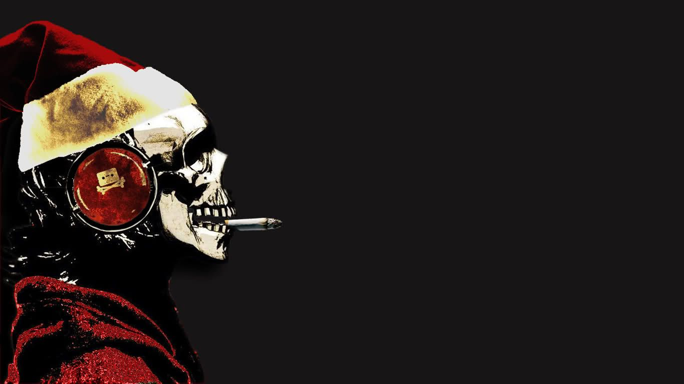 1366x768 Christmas, Skull, Headphones, Pirate Bay Pictures, Christmas, Skull ...